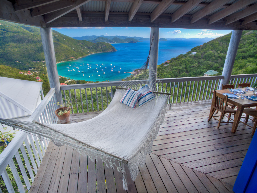 1. Hammock view over Cane Garden Bay from Makere House 12 foot wrap around deck